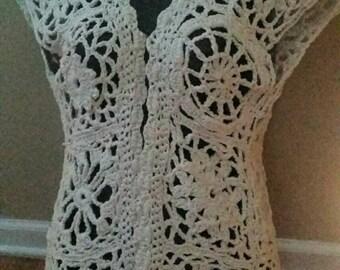 Crochet cotton hand made vest.
