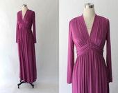 1970s Miss Elliette Maxi Dress // 70s Vintage Long Purple Jersey Gown // Small - Medium