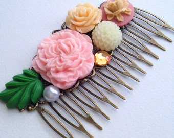 Peach and Pink Bridal Wedding Country Rustic Gift Antique Brass Hair Comb Accessory