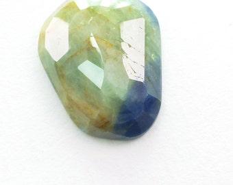 Bicolor Sapphire Rose Cut Cabochon. Natural. Flat Rose Cut Polki. Freeform. 1 pc. 11.60 cts. 14x18x4 mm  (S1954)