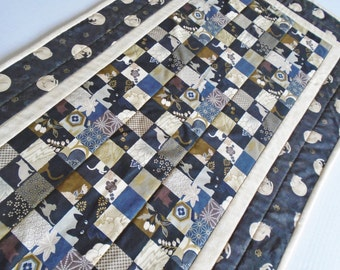 Elegant Quilted Table Runner, Cat Quilted Table Topper, Black and Gold, Quilted Dresser Scarf, Metallic Gold, Cats and Kitties