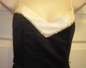 Vintage Sophistication Black and White Ball Gown with Crystal Details and Stole Wrap