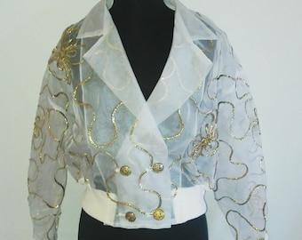 White sheer jacket/Vintage sheer gold accented jacket
