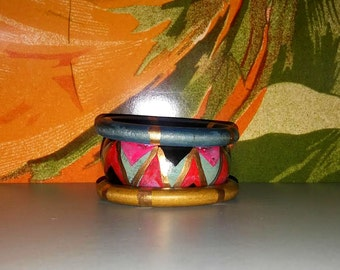 3 Vintage wooden abstract bangles