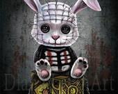 Pinhead Bunny Art Print - Horror films - Gothic Fantasy Painting