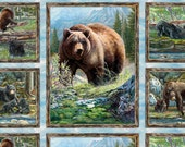Wilmington Bear Meadow Panel Free Shipping Cotton Fabric for Quilting