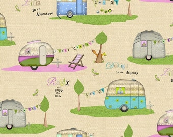 Happy Camper by StudioE Campers-Cream 1/2 Yard, Free Shipping 3126-44