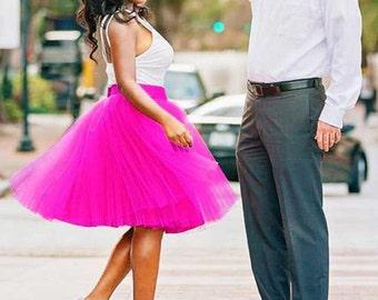 Tulle skirt. Tea length tulle skirt. Fuchsia tulle skirt. Women tulle skirt. Tutu skirt. Adult tulle skirt.