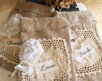 Decorated Burlap Drawstring Bag