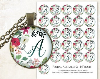 Floral alphabet bottle cap images 1 inch circle digital download Monogram digital download Alphabet printable Diy
