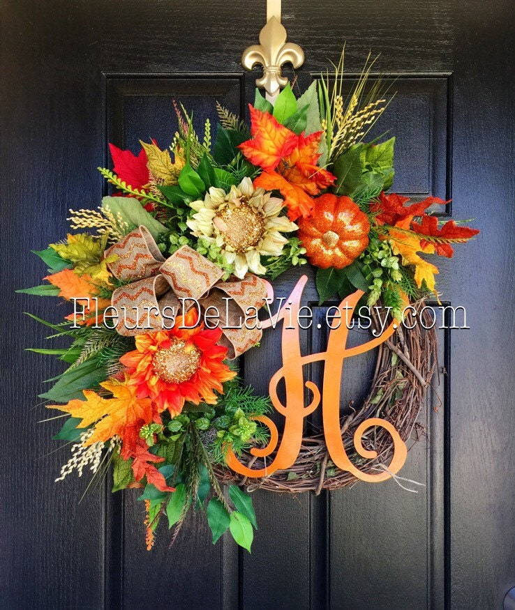 New fall wreath for door monogram wreaths fall wreaths Fall autumn door wreaths