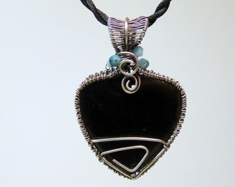 Woven Wire-Wrapped, free form, BLACK ONYX  pendant with Sterling Silver wrappings