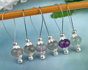 Stitch Markers, Knitting, Rainbow Fluorite, Semi-Precious Stones, Snag Free, Gift for Knitters, Jeweled Tool, Knitting Accessory, Supplies