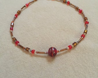 Red Bead Ankle Bracelet