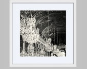 Hall of Mirrors Framed Photograph - Black and White Print - Ready to Hang Wall Art - Elegant Decor - Versailles France Photography - Square