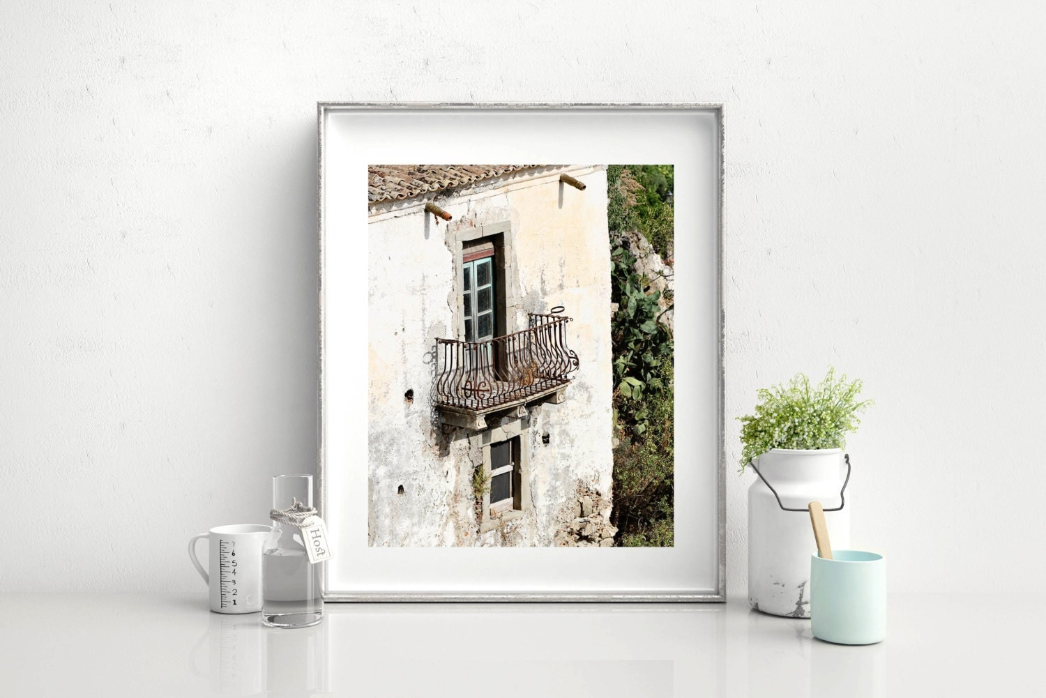 Sicily italy photography balcony print rustic italian for Balcony wall decoration
