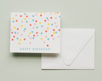 Happy Birthday Card - Rainbow Confetti - Letterpress