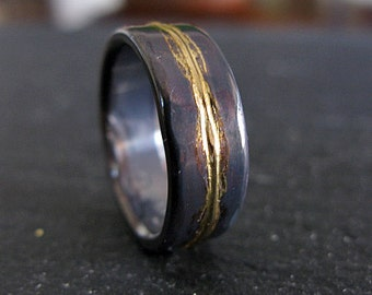 man wedding ring 8mm rustic man wedding band oxidized ring black gold ring rustic ring unique - Viking Wedding Rings