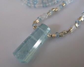 Aquamarine Necklace Aquamarine Pendant Long Necklace Aquamarine Slice Modern Necklace Raw Aquamarine Unique Necklace Designer Pendan 30 inch