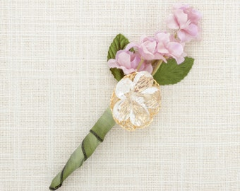 Lavender Green Gold Boutonniere Groom Handcrafted Buttonhole Groomsmen Father of Bride | Organic Wedding Accessories Handcrafted USA 1000609