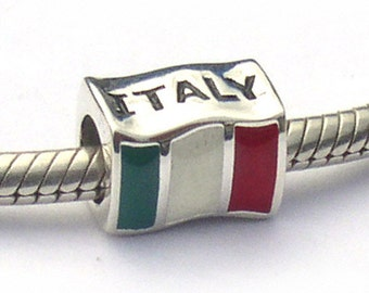 Italian Flag Charm Bead Sterling Silver Italy