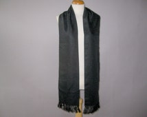 60s Vintage Fringe Scarf - Mens  Rayon Opera Scarf - Formal Long Ascot