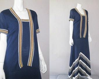 1970s Column Dress and Jacket -  Vintage Chevron Stripe Metallic Maxi S