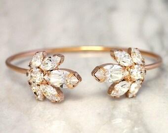 Bridal Crystal Bracelet,Swarovski Rose Gold Bracelet,Bridal Crystal Cuff,Bridesmaids Jewelry,Cuff Bracelet,Open cuff Bracelet,Gold Bracelet