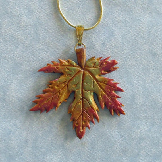 maple leaf necklace metallic look 18 inch chain fall autumn