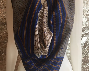 CLEARANCE  Vintage Pixelated Print Polyester Square Scarf  OS