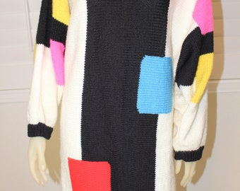 Vintage Color Block 80's Abstract Dress  M/L