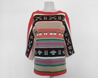 SHOP SALE! Vintage Tribal Print Sweater / Southwestern Style / 3/4 Sleeve / Wide Sleeve / Hippie