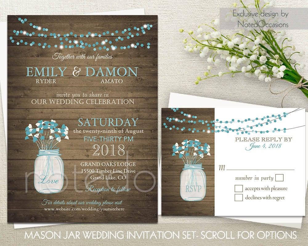 Cottage Mason Jar Wedding Invitation: Mason Jar Wedding Invitations Rustic Wedding By NotedOccasions