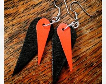 Black & Orange Leather Earrings