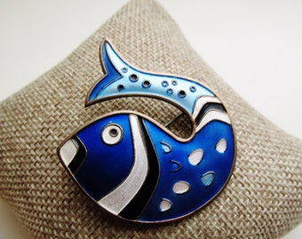 DAVID-ANDERSEN Fish Brooch, Sterling and Enamel Brooch, Guilloche Design, Norway Sterling Pin