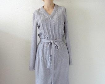 SALE - 1970s Knit Dress / vintage pale lilac sweater dress