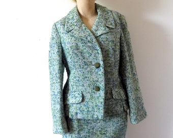 1960s Wool Suit - boucle pencil skirt and jacket - vintage Jackie O style