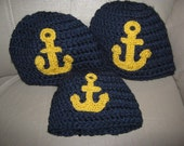 Navy with yellow last name family beanie trio- Custom Order for Frank
