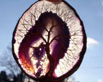Copper Wire Tree Of Life Metal Art Sculpture On A Purple Agate Stone Crystal Suncatcher