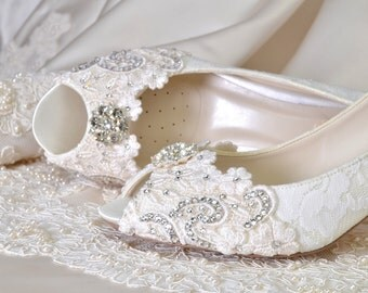 "Women's Wedding Shoes Crystals, Custom Med Heel Wedding Shoes -Colors- Vintage Wedding Lace Peep Toe Heels, Women's Bridal Shoes 2.5"" Heels"