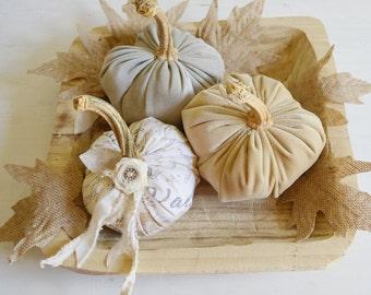 Velvet Pumpkins, Fabric Pumpkin, Grey Pumpkin, Rustic Pumpkin, Autumn Whites, Gold Pumpkin, French Script Pumpkins, Fabric Pumpkin Trio