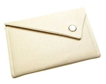 Monogrammed Business Card Holder - Natural Beige Linen