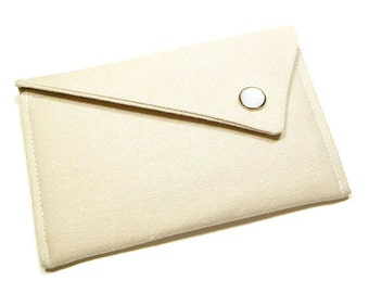 Business Card Holder - Natural Beige Linen