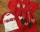 Valentine's Shirt and Dress Set, Brother Sister Valentine Outfit, Matching Valentines Personalized Shirt and Dress