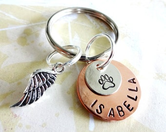 Memorial Keychain - Pet - Dog - Cat - Personalized Hand Stamped Key Chain - Copper Disc, Nickel Silver Disc & Angel Wing Charm