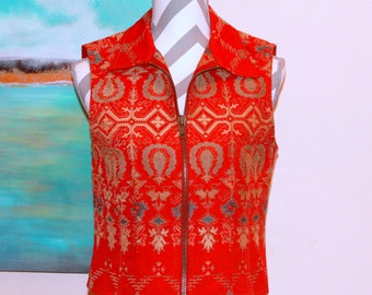 Southwestern Embroidered Vest - Size Small - Zips Up the Front - Red, Gold, Blue, & Sage - Excellent Condition