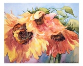 Sunflower Print, Limited Edition Giclee of Original Watercolor by Carla Niehaus