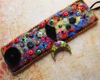 Felted Beaded Boho Gypsy Funky Bracelet