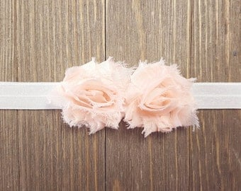 Girls Peach Headband, Newborn Headband, Peach Headband, Baby Headband, Shabby Chic Flower Headband, Photography Prop, Baby Hair Accessories