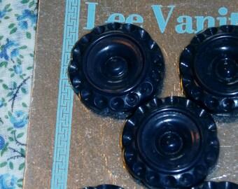 "Neat Set of 5 Vintage Old Stock Lee Vanity Buttons, 1 1/8"" Navy Flower Design Orig. Card"